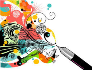 graphic of pen writing in colors